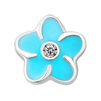 Plumeria Flower Charm with Crystal Accent - Sky Blue