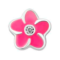 Plumeria Flower Charm with Crystal Accent - Fuchsia Pink
