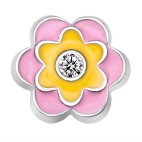 Light Pink, Yellow and Crystal Flower Charm