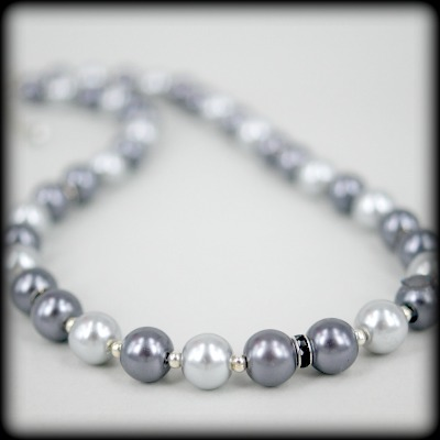 Grey & Charcoal Pearl Necklace