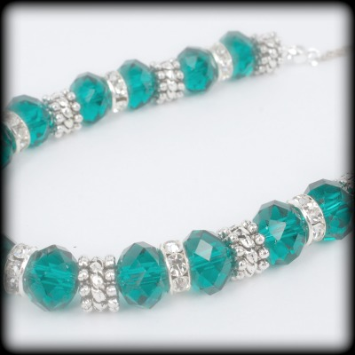 Teal Green Crystal Necklace