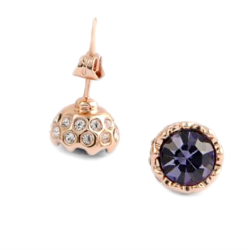 Sparkling Purple Crystal Studs on Gold Posts